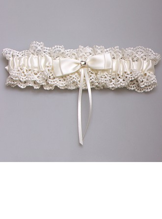 Unique Satin/Lace With Bowknot/Rhinestone Wedding Garters