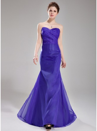 Empire Sweetheart Sweep Train Organza Evening Dress With Ruffle