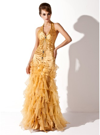 Trumpet/Mermaid Halter Floor-Length Charmeuse Organza Holiday Dress With Beading Cascading Ruffles