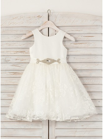 A-Line/Princess Knee-length Flower Girl Dress - Satin/Lace Sleeveless Scoop Neck With Rhinestone
