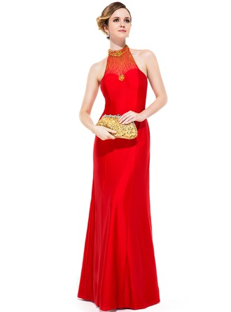 Sheath/Column Scoop Neck Floor-Length Jersey Evening Dress With Beading Sequins