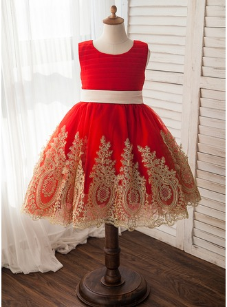 A-Line/Princess Knee-length Flower Girl Dress - Tulle/Lace Sleeveless Scoop Neck With Sash/Appliques