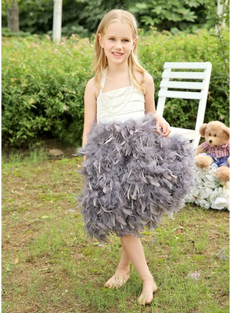A-Line/Princess Halter Knee-Length Satin Feather Flower Girl Dress With Ruffle Beading Bow(s)