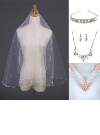 Gorgeous Alloy/Rhinestones/Tulle Ladies' Accessory Sets (Including Veil,Headpiece,Necklace,Earring,Glove)