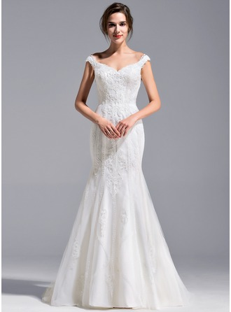 Trumpet/Mermaid Off-the-Shoulder Sweep Train Lace Wedding Dress