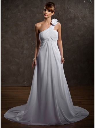 Empire One-Shoulder Court Train Chiffon Wedding Dress With Ruffle Flower(s)