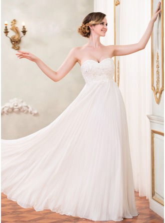 Empire Sweetheart Floor-Length Chiffon Prom Dress With Beading Appliques Lace Sequins Pleated