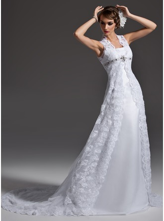 A-Line/Princess Square Neckline Chapel Train Lace Wedding Dress With Beading