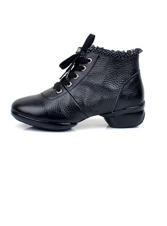 Women's Real Leather Heels Boots Practice Dance Shoes