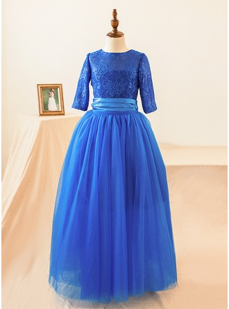 Ball Gown Floor-length Flower Girl Dress - Tulle/Lace 1/2 Sleeves Scoop Neck With Appliques