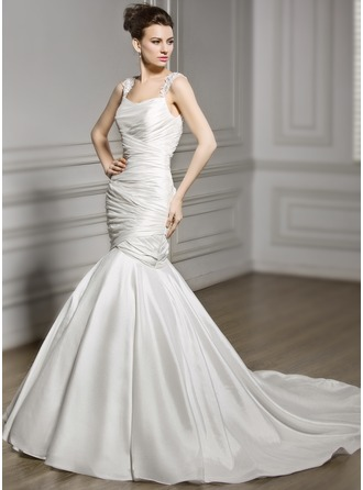 Trumpet/Mermaid Cowl Neck Court Train Taffeta Wedding Dress With Lace Beading Sequins