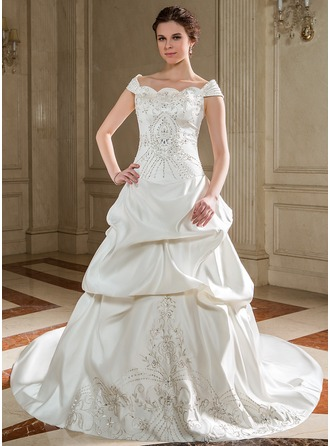 Ball-Gown Off-the-Shoulder Chapel Train Satin Wedding Dress With Embroidered Ruffle Beading Sequins