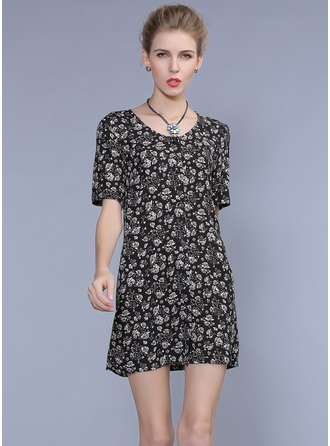 Polyester/Rayon With Print Mini Dress