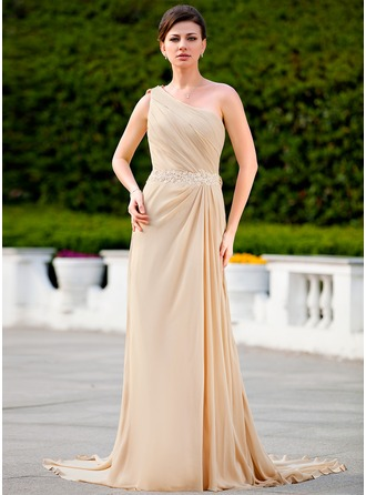 A-Line/Princess One-Shoulder Court Train Chiffon Mother of the Bride Dress With Ruffle Lace Beading