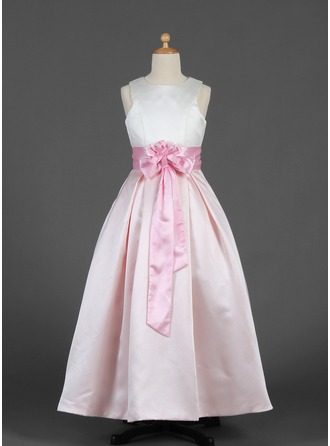 A-Line/Princess Scoop Neck Floor-Length Satin Flower Girl Dress With Sash Flower(s) Bow(s)