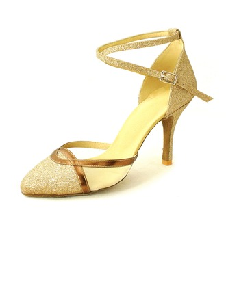 Women's Leatherette Sparkling Glitter Heels Pumps Modern Ballroom With Ankle Strap Dance Shoes