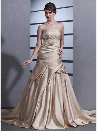 A-Line/Princess Strapless Chapel Train Satin Wedding Dress With Ruffle Appliques Lace