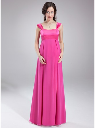 Empire Sweetheart Floor-Length Chiffon Charmeuse Maternity Bridesmaid Dress With Ruffle