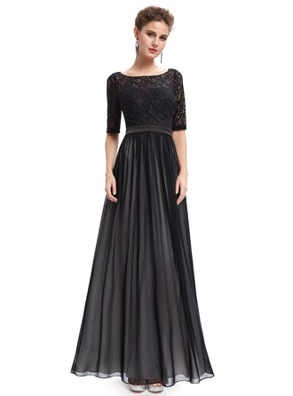 Lace/Satin/Tulle/Silk Blend With Lace/Stitching Maxi Dress