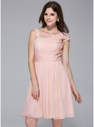 A-Line/Princess Knee-Length Chiffon Bridesmaid Dress With Cascading Ruffles