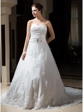 A-Line/Princess Sweetheart Chapel Train Satin Tulle Wedding Dress With Ruffle Beading Appliques Lace