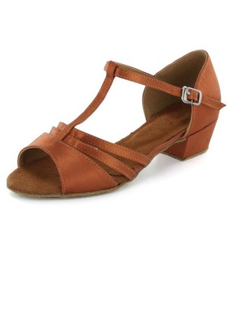 Kids' Satin Sandals Flats Latin With T-Strap Dance Shoes