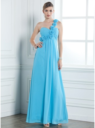 Empire One-Shoulder Floor-Length Chiffon Bridesmaid Dress With Ruffle Flower(s)
