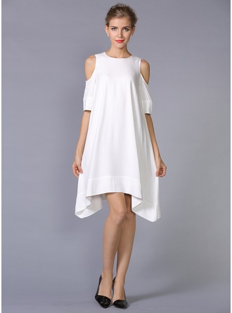 Polyester/Crepe With Plain Above Knee Dress