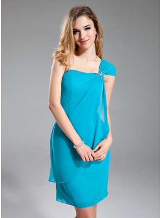 Sheath/Column One-Shoulder Short/Mini Chiffon Bridesmaid Dress With Beading Cascading Ruffles