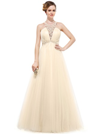 A-Line/Princess Scoop Neck Floor-Length Tulle Evening Dress With Beading Appliques Lace Sequins
