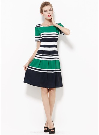 Polyester/Chiffon With Print Knee Length Dress