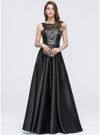 A-Line/Princess Scoop Neck Floor-Length Satin Prom Dress
