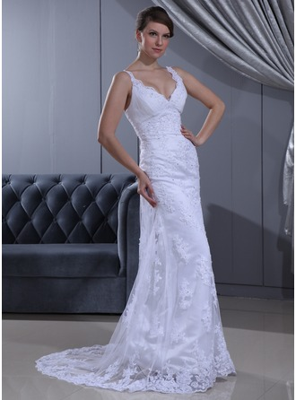 Sheath/Column V-neck Sweep Train Lace Wedding Dress With Ruffle Beading