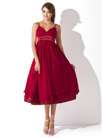 Empire Sweetheart Knee-Length Chiffon Charmeuse Maternity Bridesmaid Dress With Ruffle