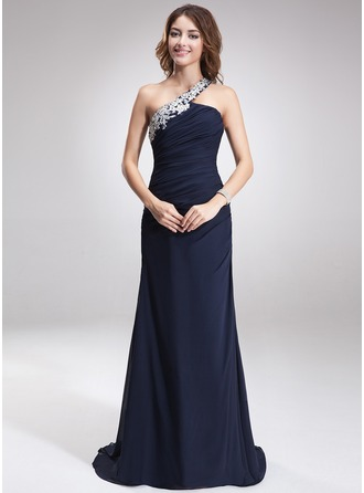 A-Line/Princess One-Shoulder Sweep Train Chiffon Evening Dress With Beading Appliques Lace