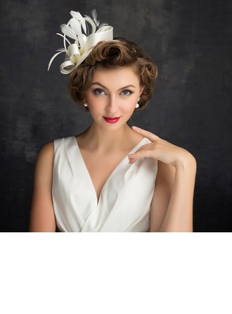 Dames Style Classique Feather/Tulle/Lin avec Feather Chapeaux de type fascinator