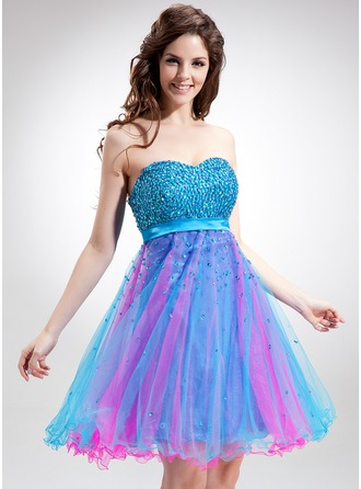 Empire Sweetheart Knee-Length Tulle Charmeuse Homecoming Dress With Beading Sequins