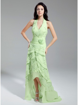 A-Line/Princess Halter Asymmetrical Chiffon Lace Prom Dress With Beading Flower(s) Cascading Ruffles