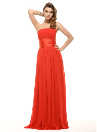 Empire Strapless Floor-Length Chiffon Holiday Dress With Ruffle