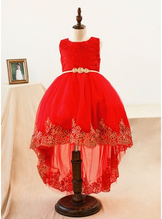 Ball Gown Knee-length Flower Girl Dress - Lace Sleeveless Scoop Neck With Lace/Bow(s)