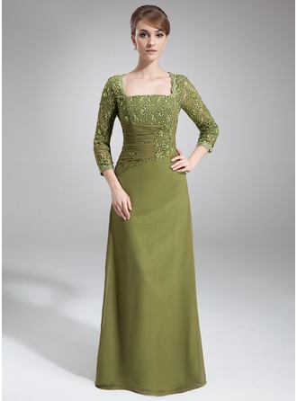 Sheath/Column Square Neckline Floor-Length Chiffon Lace Mother of the Bride Dress With Beading Sequins