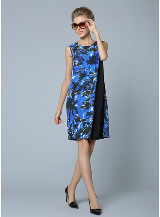 Polyester/Acetate With Print Above Knee Dress
