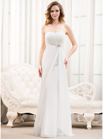 A-Line/Princess Sweetheart Floor-Length Chiffon Wedding Dress With Ruffle Beading Sequins