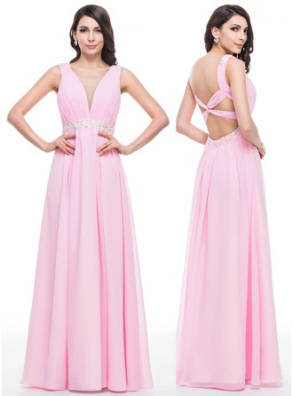 A-Line/Princess V-neck Floor-Length Chiffon Tulle Prom Dress With Ruffle Beading Appliques Lace Sequins