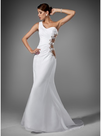 Trumpet/Mermaid One-Shoulder Sweep Train Chiffon Evening Dress With Ruffle Beading