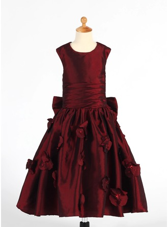 A-Line/Princess Scoop Neck Tea-Length Taffeta Flower Girl Dress With Ruffle Flower(s) Sequins Bow(s)