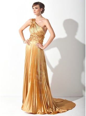 A-Line/Princess One-Shoulder Court Train Tulle Charmeuse Prom Dress With Appliques Pleated