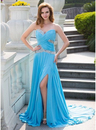 A-Line/Princess Sweetheart Court Train Chiffon Prom Dress With Ruffle Beading Split Front