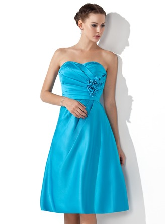 Empire Sweetheart Knee-Length Satin Bridesmaid Dress With Ruffle Flower(s)