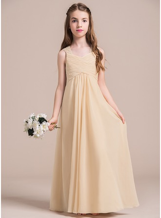 A-Line/Princess Floor-length Flower Girl Dress - Chiffon Sleeveless V-neck With Ruffles/Lace